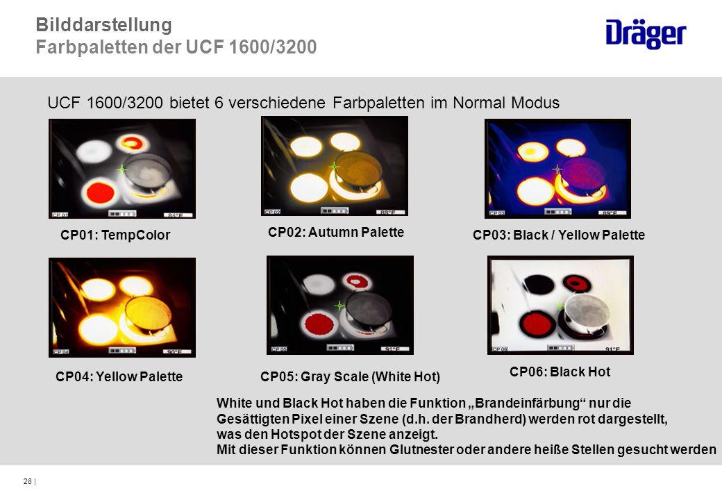 28 | CP01: TempColor CP02: Autumn Palette CP03: Black / Yellow Palette CP04: Yellow PaletteCP05: Gray Scale (White Hot) CP06: Black Hot UCF 1600/3200