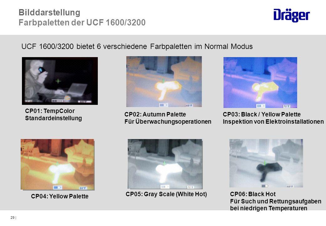 29 | CP02: Autumn Palette Für Überwachungsoperationen CP03: Black / Yellow Palette Inspektion von Elektroinstallationen CP04: Yellow Palette CP05: Gra