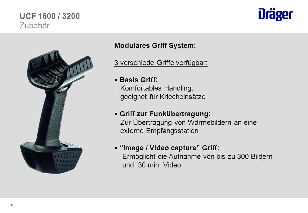 37 | Modulares Griff System: 3 verschiede Griffe verfügbar: Basis Griff: Komfortables Handling, geeignet für Kriecheinsätze Griff zur Funkübertragung: