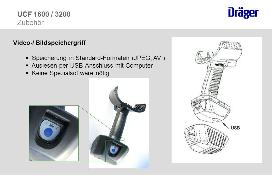 Video-/ Bildspeichergriff Speicherung in Standard-Formaten (JPEG, AVI) Auslesen per USB-Anschluss mit Computer Keine Spezialsoftware nötig UCF 1600 /