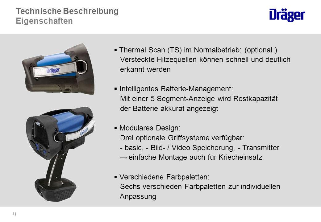 4 | Thermal Scan (TS) im Normalbetrieb: (optional ) Versteckte Hitzequellen können schnell und deutlich erkannt werden Intelligentes Batterie-Manageme