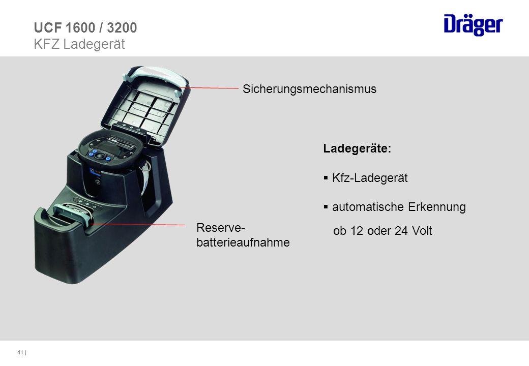 41 | Ladegeräte: Kfz-Ladegerät automatische Erkennung ob 12 oder 24 Volt UCF 1600 / 3200 KFZ Ladegerät Sicherungsmechanismus Reserve- batterieaufnahme