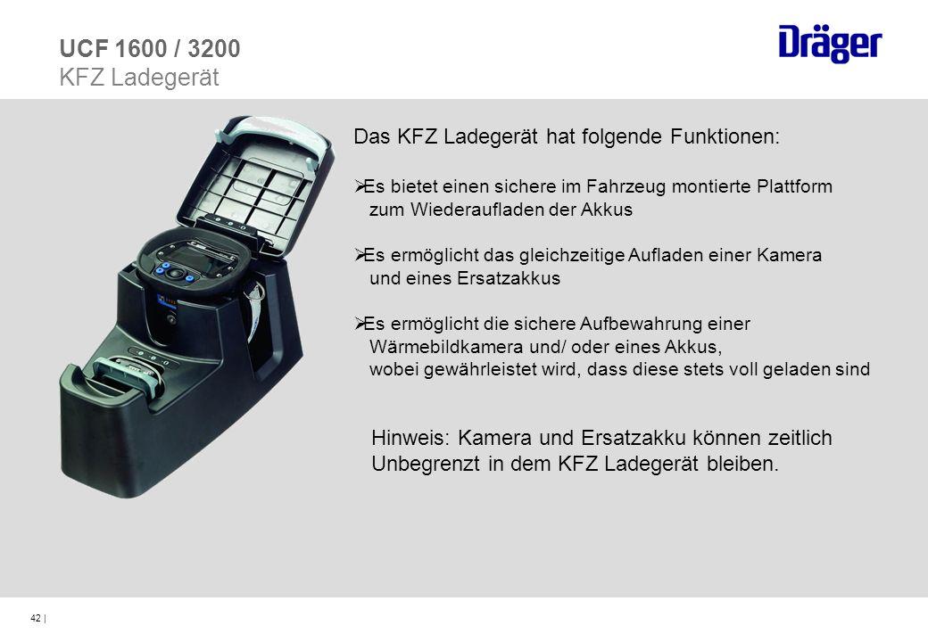 42 | UCF 1600 / 3200 KFZ Ladegerät Das KFZ Ladegerät hat folgende Funktionen: Es bietet einen sichere im Fahrzeug montierte Plattform zum Wiederauflad