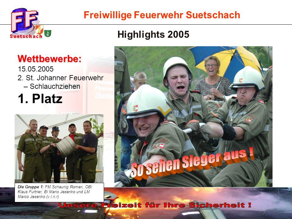 Freiwillige Feuerwehr Suetschach Highlights 2005 Wettbewerbe: 15.05.2005 2. St. Johanner Feuerwehr – Schlauchziehen 1. Platz Die Gruppe 1: FM Schaunig