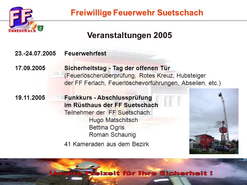 Freiwillige Feuerwehr Suetschach 23.-24.07.2005Feuerwehrfest 17.09.2005Sicherheitstag - Tag der offenen Tür (Feuerlöscherüberprüfung, Rotes Kreuz, Hub