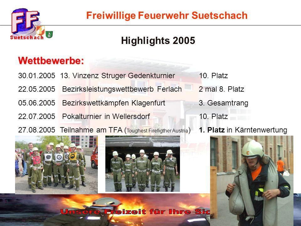 Freiwillige Feuerwehr Suetschach Highlights 2005 Wettbewerbe: 30.01.2005 13. Vinzenz Struger Gedenkturnier 10. Platz 22.05.2005 Bezirksleistungswettbe