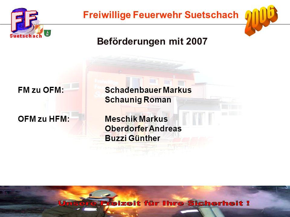Freiwillige Feuerwehr Suetschach FM zu OFM: Schadenbauer Markus Schaunig Roman OFM zu HFM:Meschik Markus Oberdorfer Andreas Buzzi Günther Beförderunge