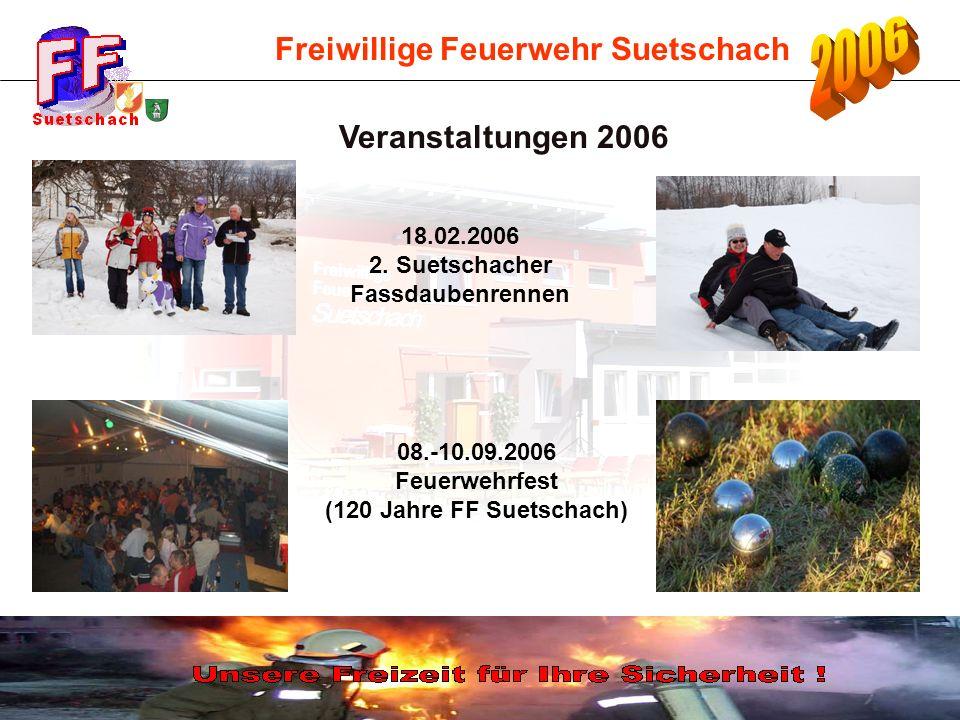 Freiwillige Feuerwehr Suetschach 08.-10.09.2006 Feuerwehrfest (120 Jahre FF Suetschach) Veranstaltungen 2006 18.02.2006 2. Suetschacher Fassdaubenrenn