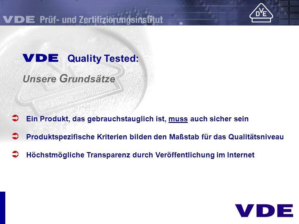 sicher E Quality Tested: Unsere G rundsätze Ein Produkt, das gebrauchstauglich ist, muss auch sicher sein Produktspezifische Kriterien bilden den Maßs