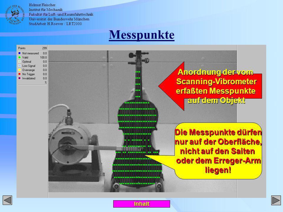 Helmut Fleischer Institut für Mechanik Fakultät für Luft- und Raumfahrttechnik Universität der Bundeswehr München StudArbeit H.Roewer / LRT2000 Screenshot des Auswerteprogramms
