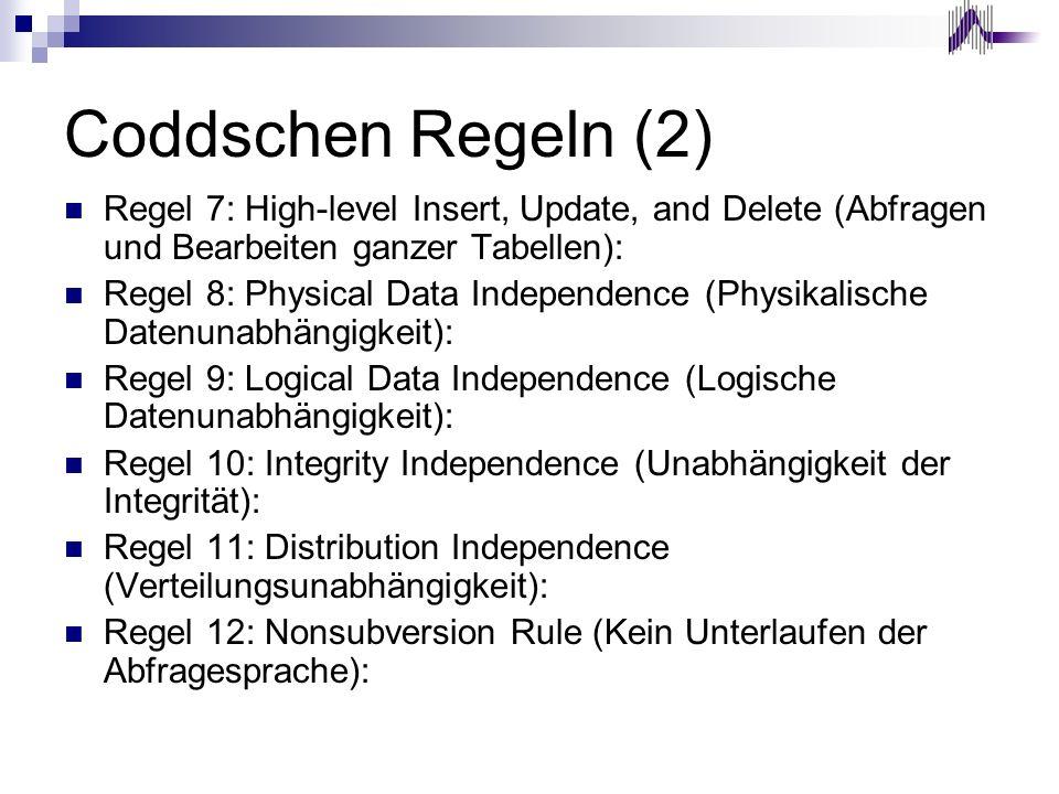 Coddschen Regeln (2) Regel 7: High-level Insert, Update, and Delete (Abfragen und Bearbeiten ganzer Tabellen): Regel 8: Physical Data Independence (Ph