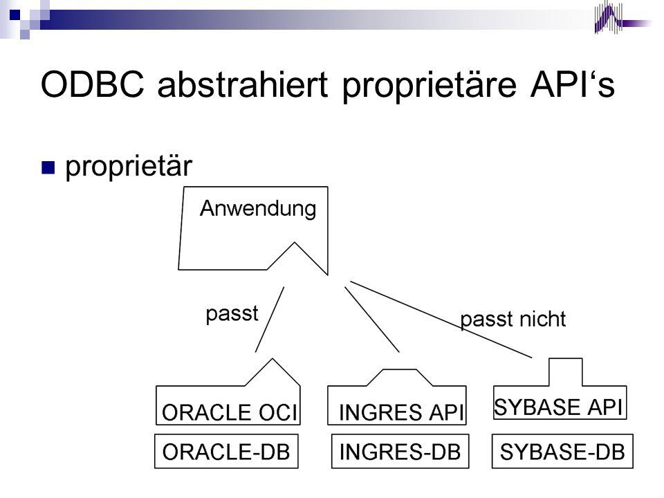 ODBC abstrahiert proprietäre APIs proprietär
