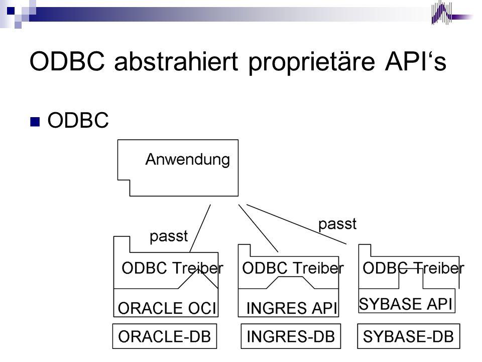 ODBC abstrahiert proprietäre APIs ODBC