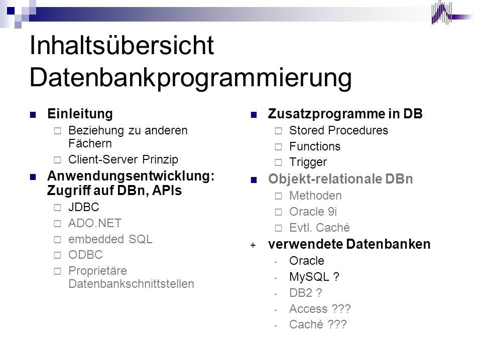 Inhaltsübersicht Datenbankprogrammierung Einleitung Beziehung zu anderen Fächern Client-Server Prinzip Anwendungsentwicklung: Zugriff auf DBn, APIs JD