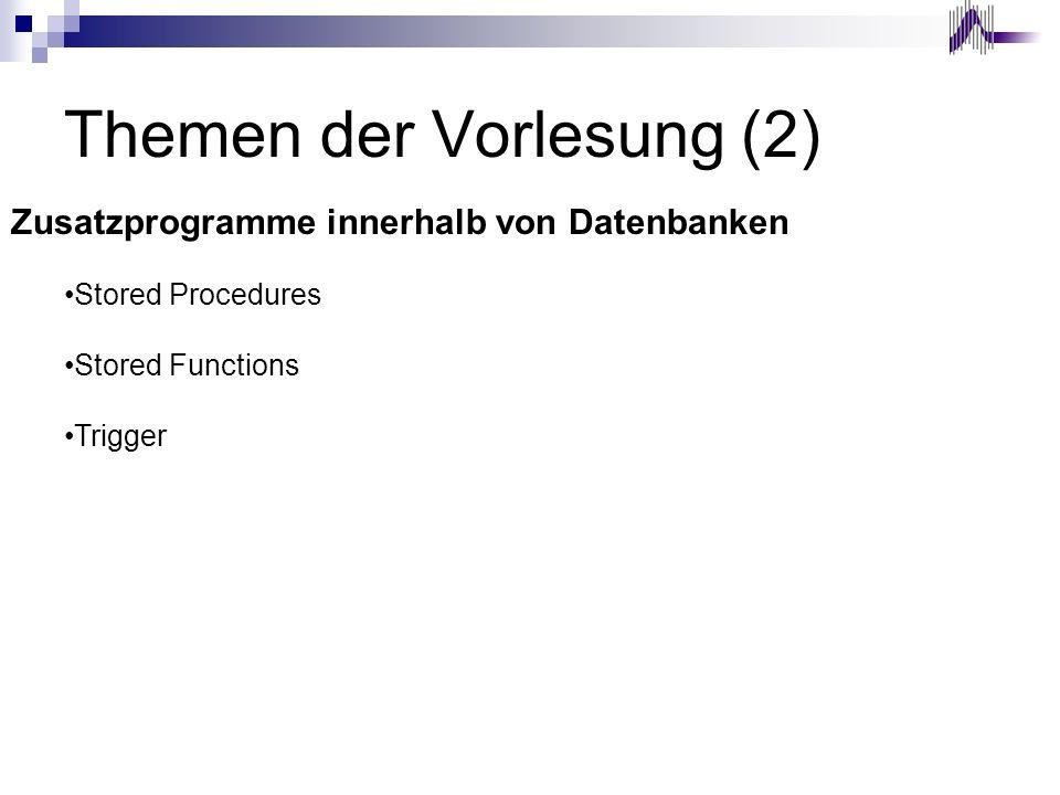 Themen der Vorlesung (2) Zusatzprogramme innerhalb von Datenbanken Stored Procedures Stored Functions Trigger