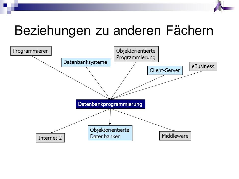 Beziehungen zu anderen Fächern ProgrammierenObjektorientierte Programmierung Datenbanksysteme Datenbankprogrammierung Internet 2 Middleware Objektorie
