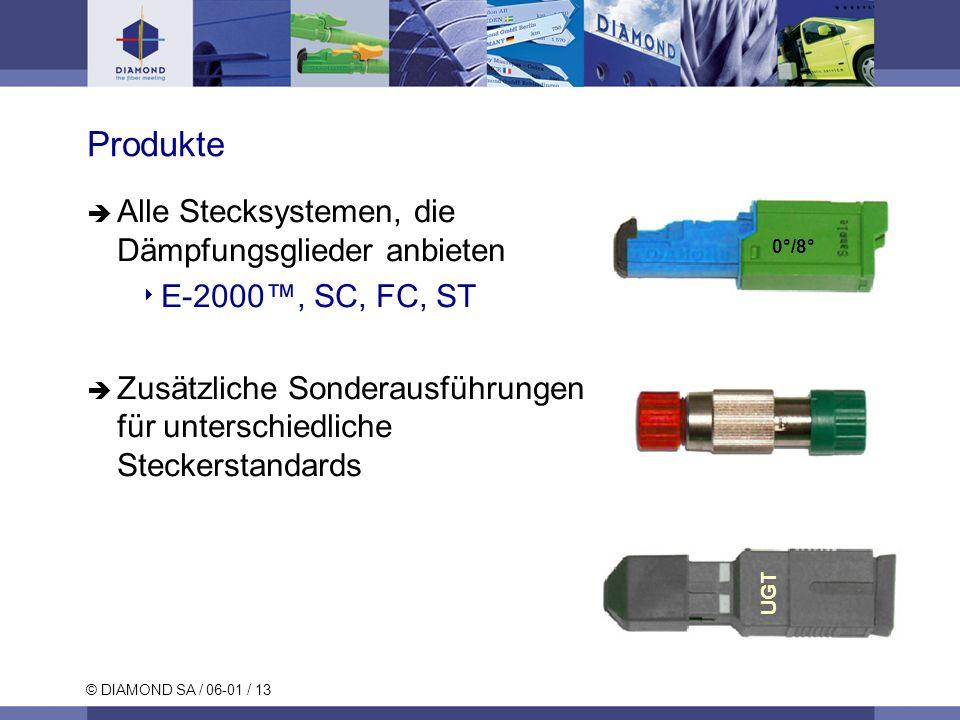 © DIAMOND SA / 06-01 / 13 Produkte 0°/8° UGT Alle Stecksystemen, die Dämpfungsglieder anbieten E-2000, SC, FC, ST Zusätzliche Sonderausführungen für u