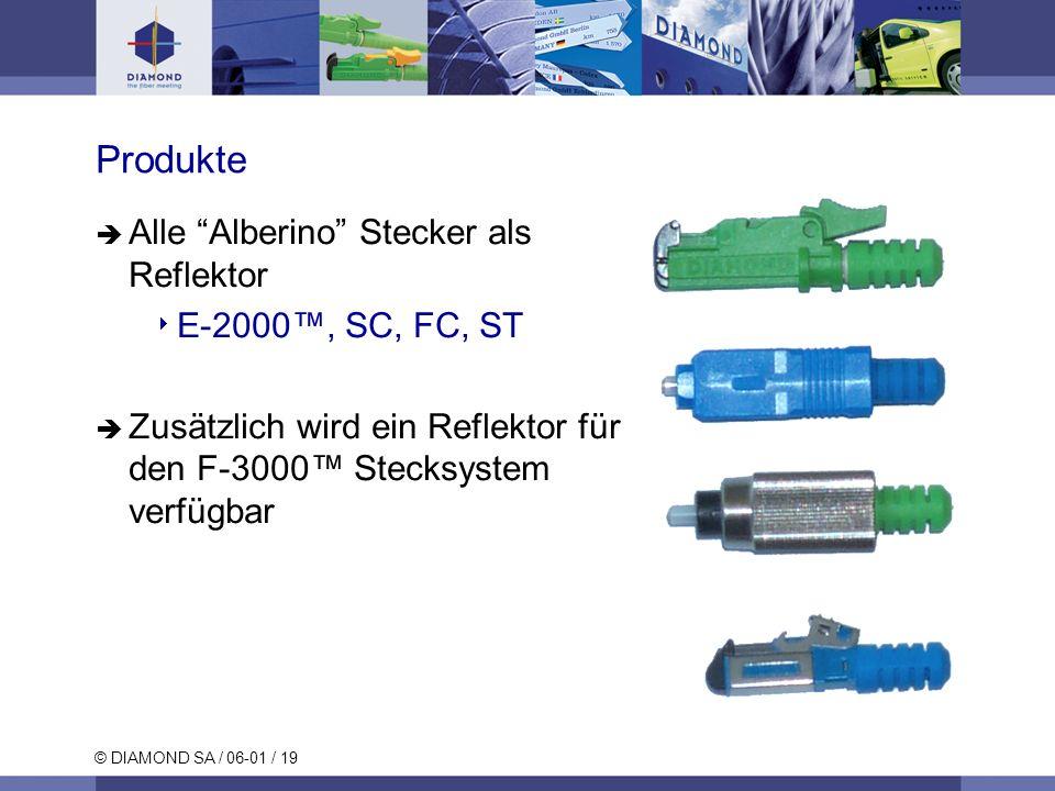 © DIAMOND SA / 06-01 / 19 Produkte Alle Alberino Stecker als Reflektor E-2000, SC, FC, ST Zusätzlich wird ein Reflektor für den F-3000 Stecksystem ver