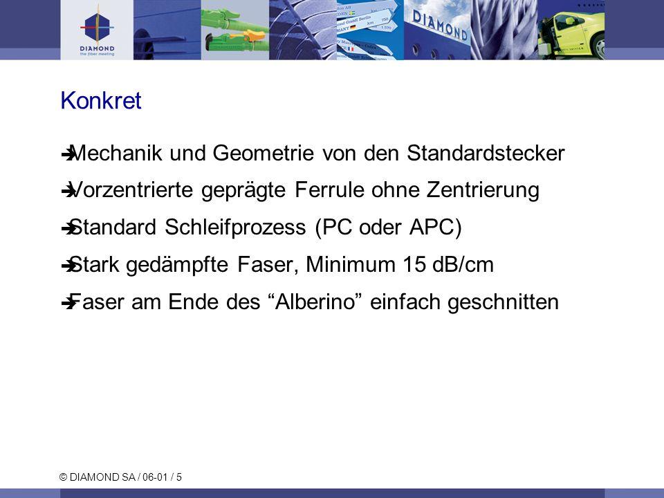 © DIAMOND SA / 06-01 / 5 Konkret Mechanik und Geometrie von den Standardstecker Vorzentrierte geprägte Ferrule ohne Zentrierung Standard Schleifprozes