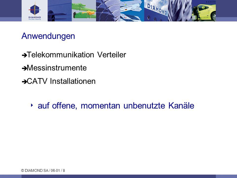 © DIAMOND SA / 06-01 / 8 Anwendungen Telekommunikation Verteiler Messinstrumente CATV Installationen auf offene, momentan unbenutzte Kanäle