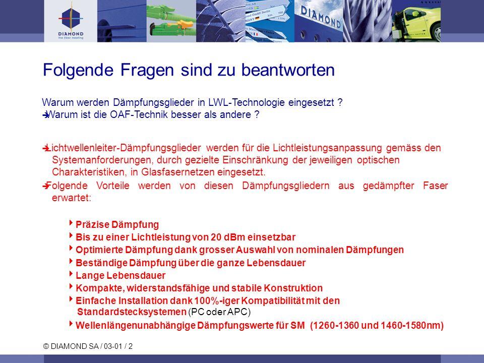 © DIAMOND SA / 03-01 / 2 Warum werden Dämpfungsglieder in LWL-Technologie eingesetzt ? Warum ist die OAF-Technik besser als andere ? Lichtwellenleiter