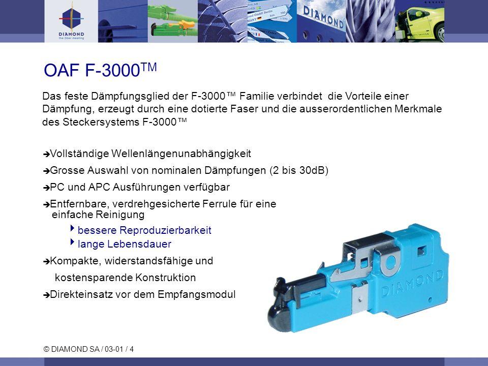 © DIAMOND SA / 03-01 / 4 OAF F-3000 TM Das feste Dämpfungsglied der F-3000 Familie verbindet die Vorteile einer Dämpfung, erzeugt durch eine dotierte