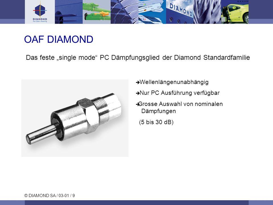 © DIAMOND SA / 03-01 / 9 OAF DIAMOND Das feste single mode PC Dämpfungsglied der Diamond Standardfamilie Wellenlängenunabhängig Nur PC Ausführung verf