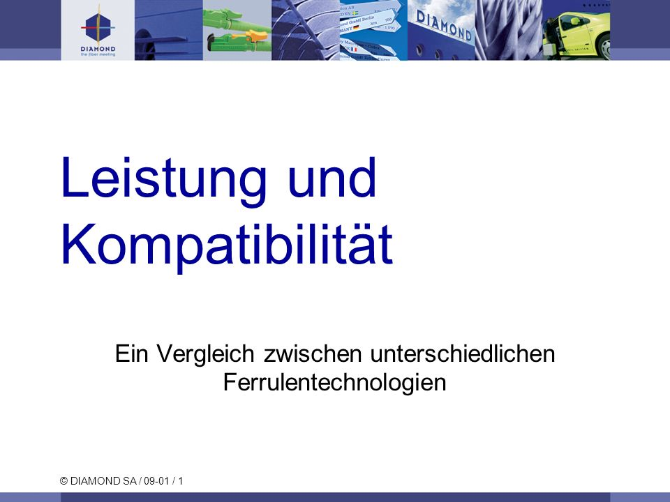 © DIAMOND SA / 09-01 / 2 Optische Schnittstelle Die am weitverbreitesten Verfahren für die Verbindung Lichtwellenleiter mit Lichtwellenleiter: lösbare Verbindungen (LWL-Stecker), quasi lösbare Verbindungen(z.B.