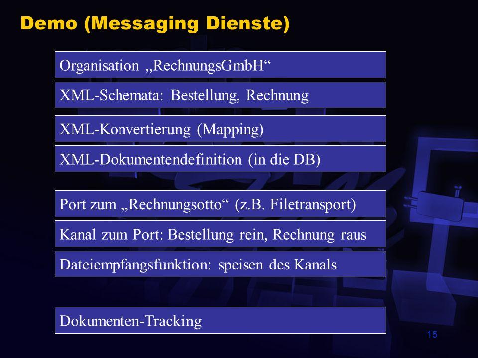 15 Demo (Messaging Dienste) Organisation RechnungsGmbH XML-Schemata: Bestellung, Rechnung XML-Konvertierung (Mapping) Port zum Rechnungsotto (z.B.