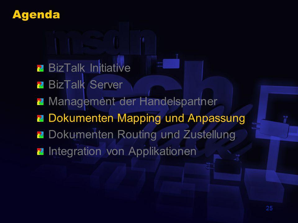24 BizTalk Editor Erstellen und Speichern von XML Schemata Export der BizTalk XDR Syntax (XML reduced) Import Module für WellFormed-XML DTD XDR Schema Benutzung für XML/Non-XML X12 EDI Flat (Delimited & Positional)