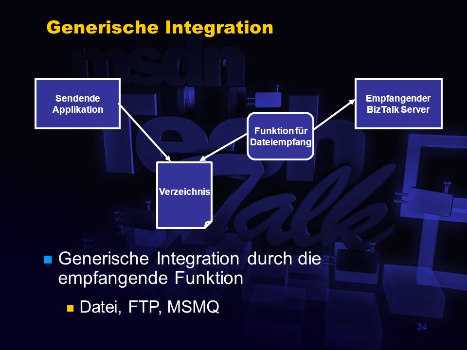33 Direkte Integration Sendende Applikation BizTalk Server IInterchange:submit (1,Document,,,,, Pipeline,Sender,Receiver) VB-Applikation, ASP-Seite Di