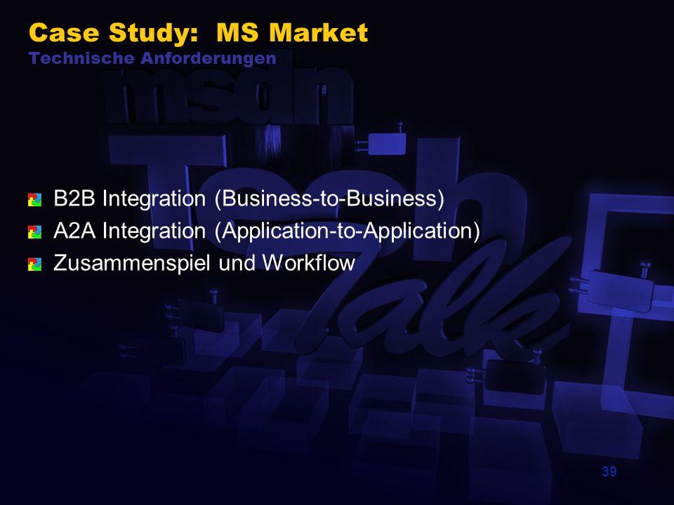 39 Case Study: MS Market Technische Anforderungen B2B Integration (Business-to-Business) A2A Integration (Application-to-Application) Zusammenspiel und Workflow