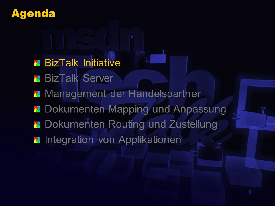 4 Inhalt dieses TechTalk Funktionsweise und Aufgaben des BizTalk Servers Dokumentenaustausch Integration von Applikationen Wo ist der Developer gefrag