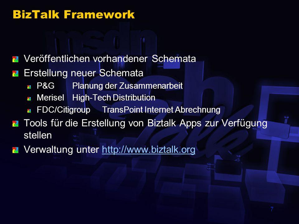 7 BizTalk Framework Veröffentlichen vorhandener Schemata Erstellung neuer Schemata P&G Planung der Zusammenarbeit MeriselHigh-Tech Distribution FDC/CitigroupTransPoint Internet Abrechnung Tools für die Erstellung von Biztalk Apps zur Verfügung stellen Verwaltung unter http://www.biztalk.orghttp://www.biztalk.org