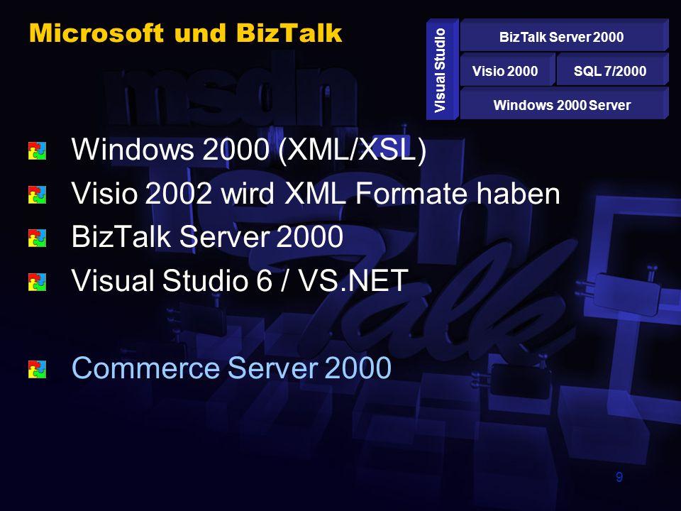 9 Microsoft und BizTalk Windows 2000 (XML/XSL) Visio 2002 wird XML Formate haben BizTalk Server 2000 Visual Studio 6 / VS.NET Commerce Server 2000 Windows 2000 Server SQL 7/2000Visio 2000 BizTalk Server 2000 Visual Studio
