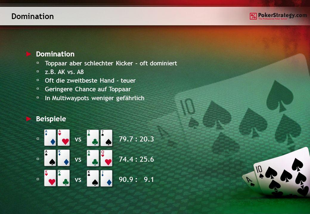 Domination Toppaar aber schlechter Kicker – oft dominiert z.B. AK vs. A8 Oft die zweitbeste Hand – teuer Geringere Chance auf Toppaar In Multiwaypots
