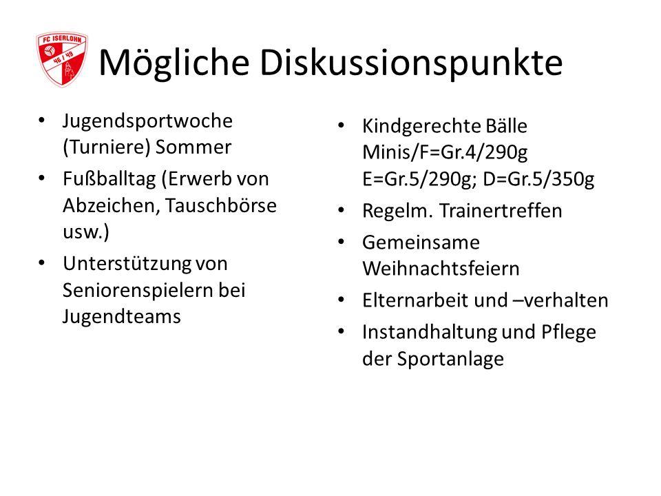 Mögliche Diskussionspunkte Jugendsportwoche (Turniere) Sommer Fußballtag (Erwerb von Abzeichen, Tauschbörse usw.) Unterstützung von Seniorenspielern b