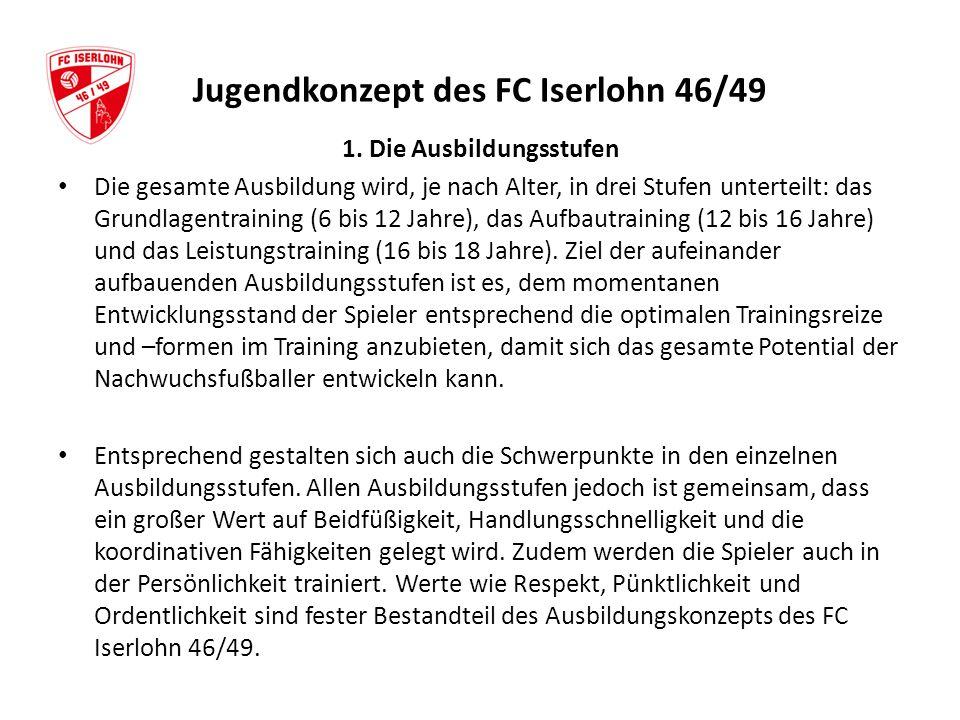 Jugendkonzept des FC Iserlohn 46/49 1. Die Ausbildungsstufen Die gesamte Ausbildung wird, je nach Alter, in drei Stufen unterteilt: das Grundlagentrai