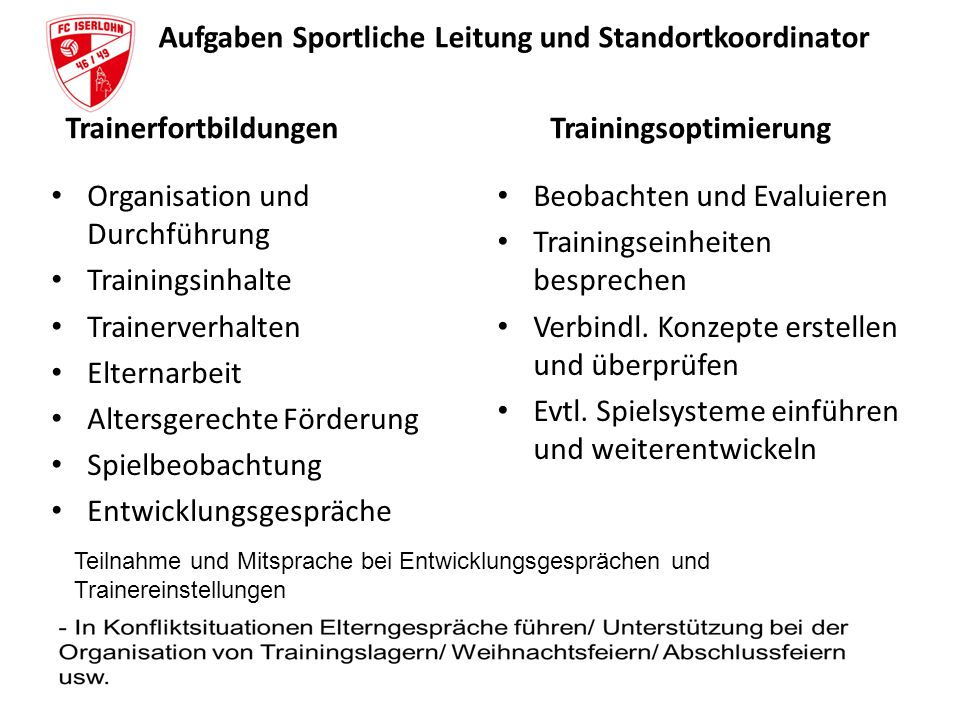 Aufgaben Sportliche Leitung und Standortkoordinator Trainerfortbildungen Organisation und Durchführung Trainingsinhalte Trainerverhalten Elternarbeit