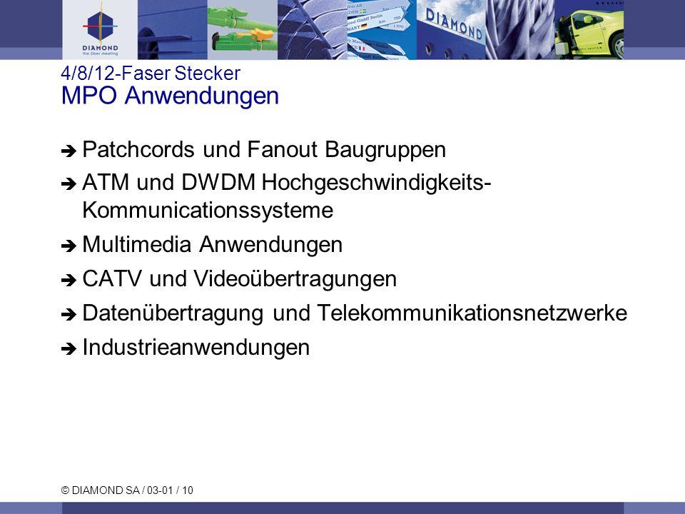 © DIAMOND SA / 03-01 / 10 4/8/12-Faser Stecker MPO Anwendungen Patchcords und Fanout Baugruppen ATM und DWDM Hochgeschwindigkeits- Kommunicationssyste