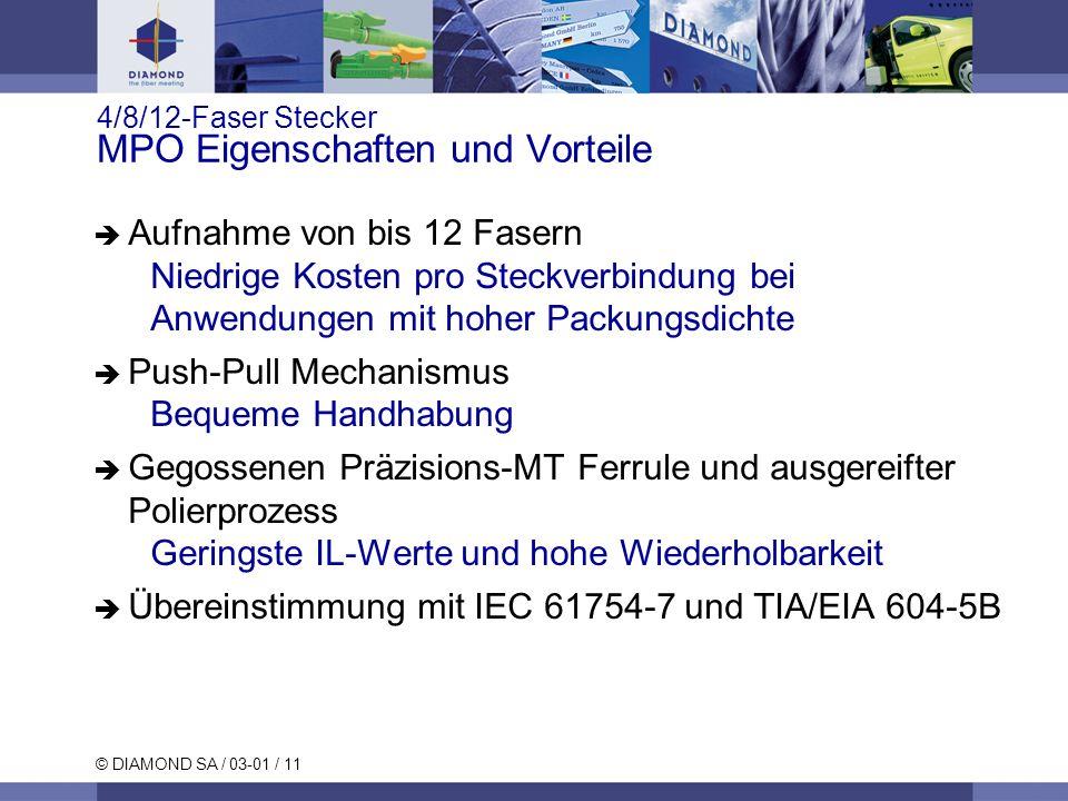 © DIAMOND SA / 03-01 / 11 4/8/12-Faser Stecker MPO Eigenschaften und Vorteile Aufnahme von bis 12 Fasern Niedrige Kosten pro Steckverbindung bei Anwen