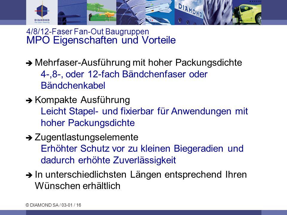 © DIAMOND SA / 03-01 / 16 4/8/12-Faser Fan-Out Baugruppen MPO Eigenschaften und Vorteile Mehrfaser-Ausführung mit hoher Packungsdichte 4-,8-, oder 12-