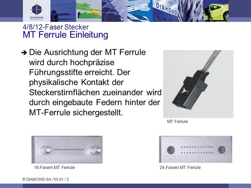 © DIAMOND SA / 03-01 / 2 4/8/12-Faser Stecker MT Ferrule Einleitung Die Ausrichtung der MT Ferrule wird durch hochpräzise Führungsstifte erreicht. Der