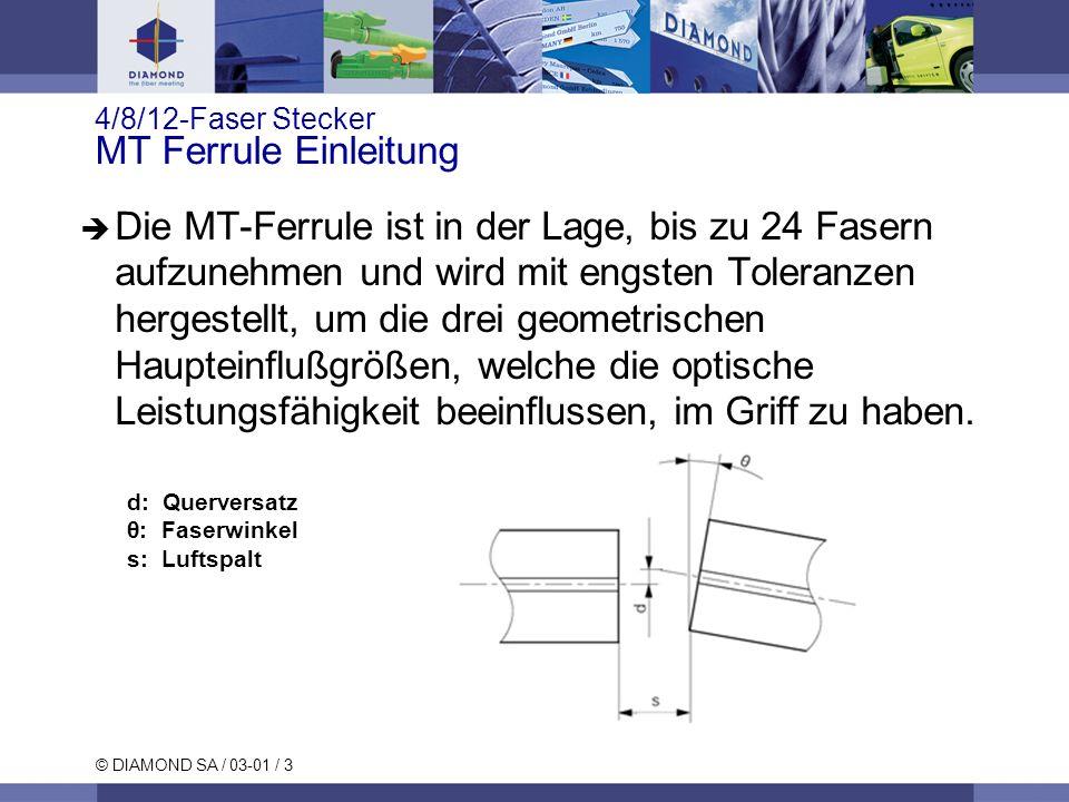 © DIAMOND SA / 03-01 / 3 4/8/12-Faser Stecker MT Ferrule Einleitung Die MT-Ferrule ist in der Lage, bis zu 24 Fasern aufzunehmen und wird mit engsten