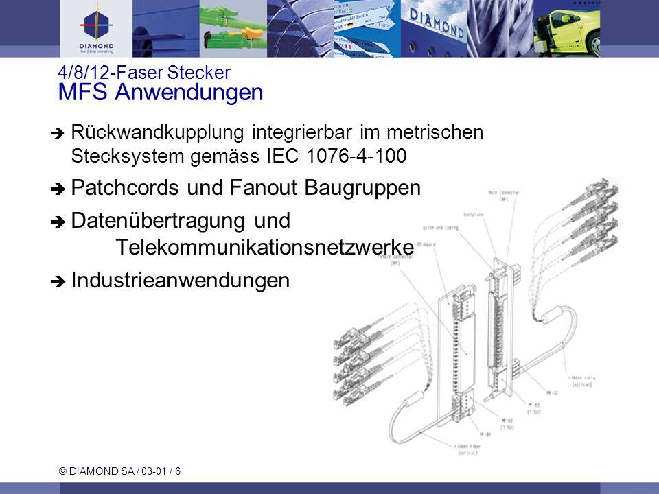 © DIAMOND SA / 03-01 / 6 4/8/12-Faser Stecker MFS Anwendungen Rückwandkupplung integrierbar im metrischen Stecksystem gemäss IEC 1076-4-100 Patchcords