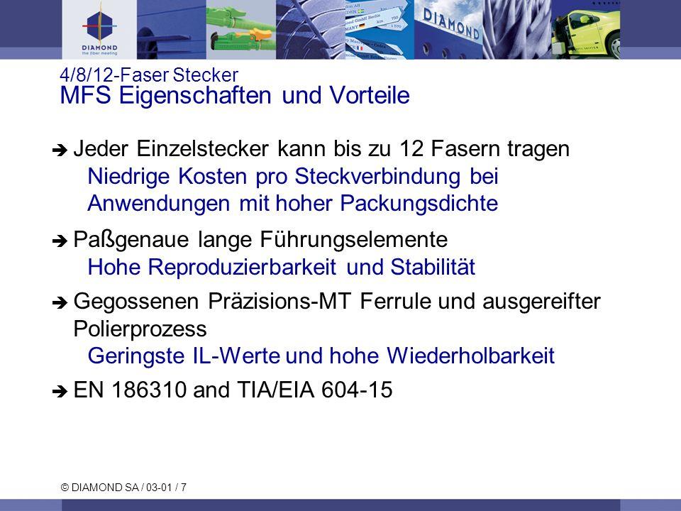 © DIAMOND SA / 03-01 / 7 4/8/12-Faser Stecker MFS Eigenschaften und Vorteile Jeder Einzelstecker kann bis zu 12 Fasern tragen Niedrige Kosten pro Stec