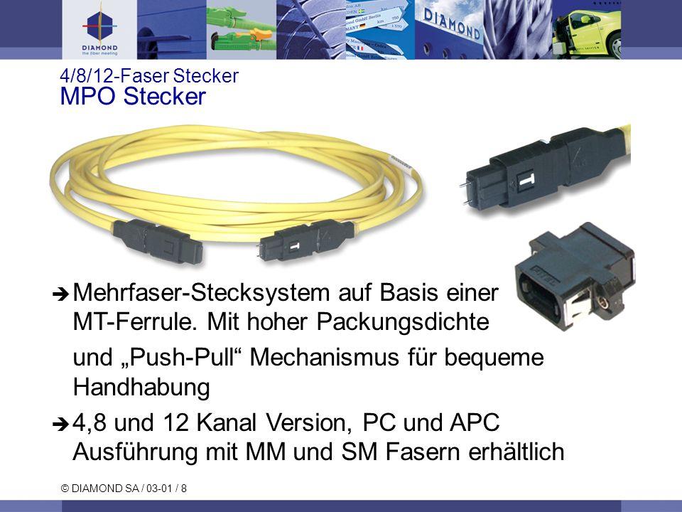 © DIAMOND SA / 03-01 / 8 4/8/12-Faser Stecker MPO Stecker Mehrfaser-Stecksystem auf Basis einer MT-Ferrule. Mit hoher Packungsdichte und Push-Pull Mec