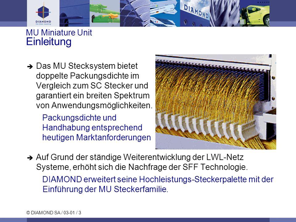 © DIAMOND SA / 03-01 / 3 MU Miniature Unit Einleitung Das MU Stecksystem bietet doppelte Packungsdichte im Vergleich zum SC Stecker und garantiert ein