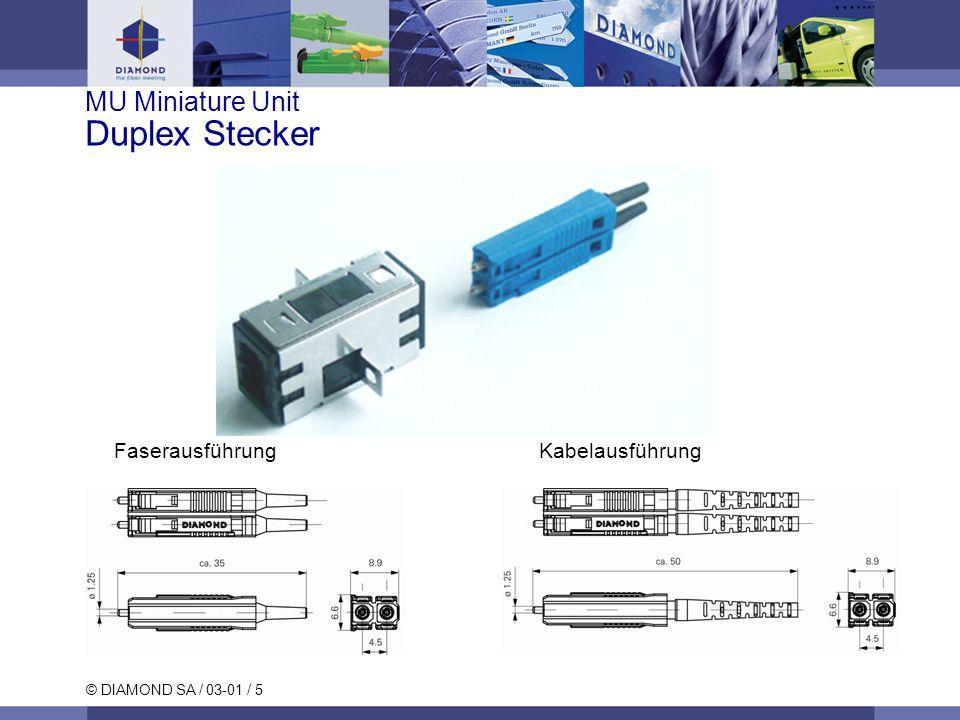 © DIAMOND SA / 03-01 / 6 MU Miniature Unit Simplex Bezeichnung Stecker MU Simplex SM/PC MU Simplex MM/PC MU Simplex SM APC Mittelstück MU SM/MM PC MU SM APC