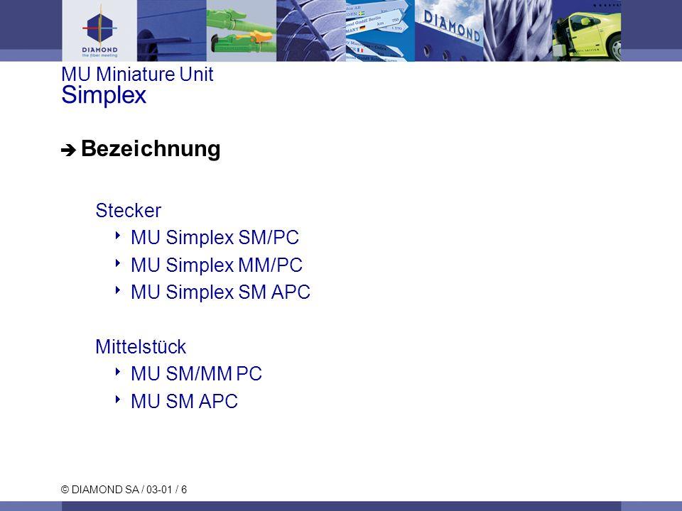 © DIAMOND SA / 03-01 / 7 MU Miniature Unit Duplex Bezeichnung Stecker MU Duplex SM/PC MU Duplex MM/PC MU Duplex SM APC Mittelstück MU SM/MM PC MU SM APC